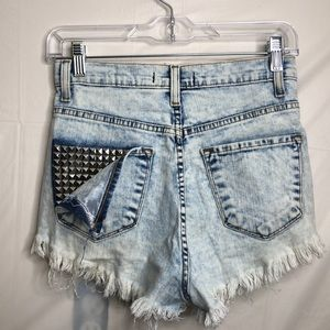Light wash high waisted jean shorts studded back